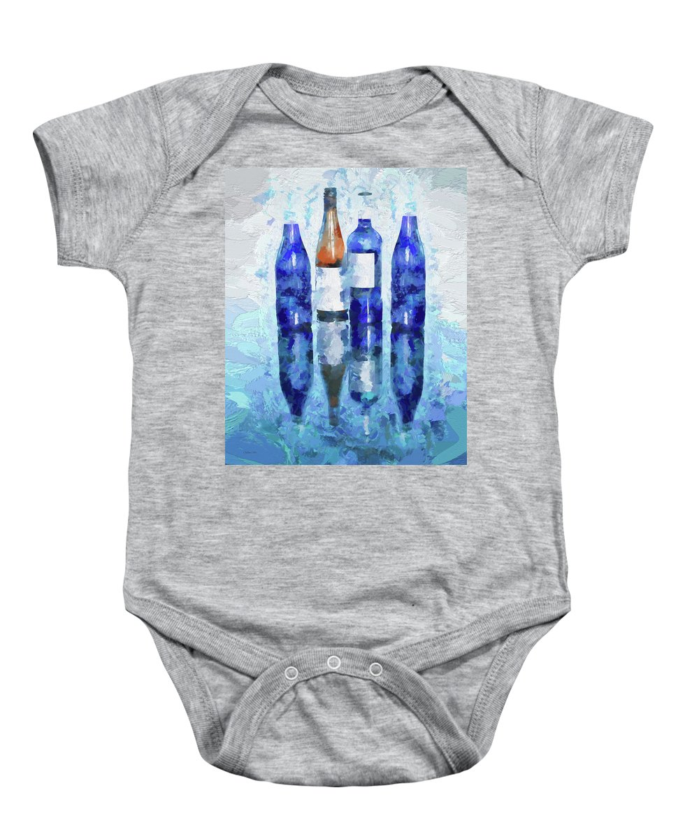 Digital Touch Baby Onesie featuring the digital art Wine Bottles Reflection by Lena Owens OLena Art