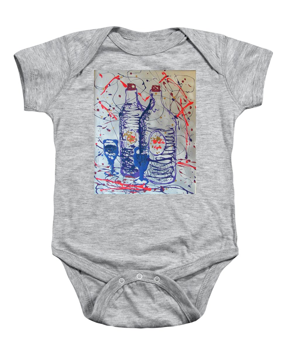 Wine Glass And Bottles Baby Onesie featuring the painting Wine Jugs by J R Seymour
