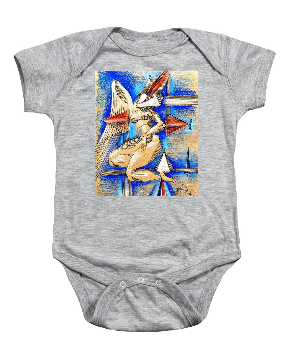 Inga Vereshchagina Baby Onesie featuring the drawing Winged Space by Inga Vereshchagina