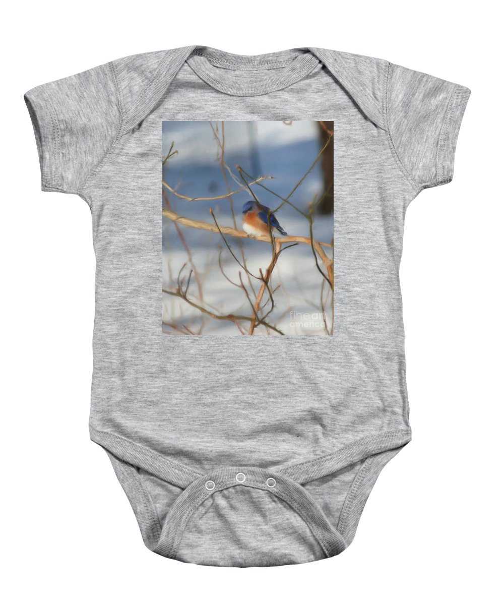 Animal Baby Onesie featuring the painting Winter Bluebird Art by Smilin Eyes Treasures
