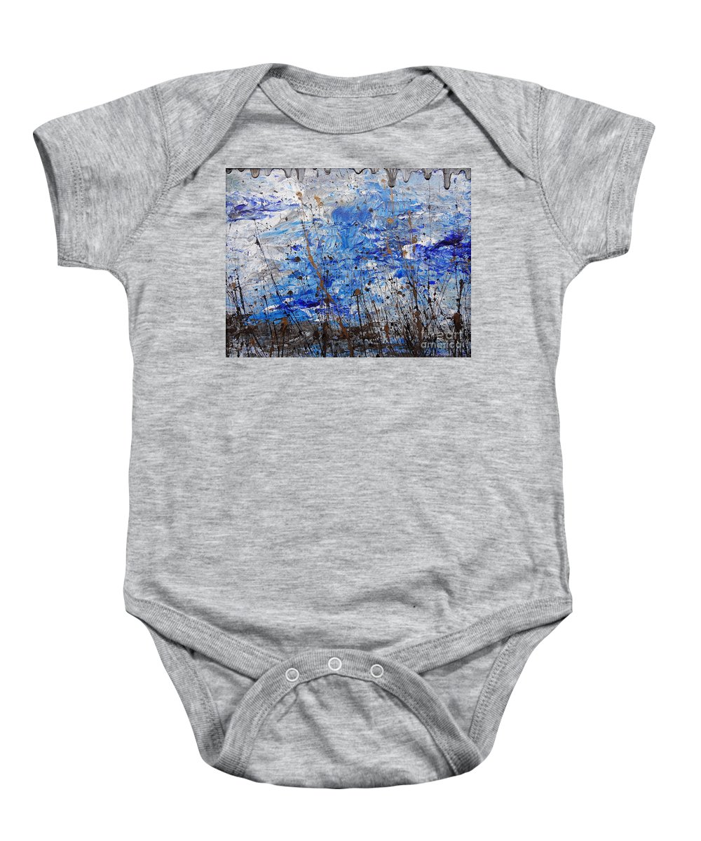 Winter Crisp Baby Onesie featuring the painting Winter Crisp by Jacqueline Athmann