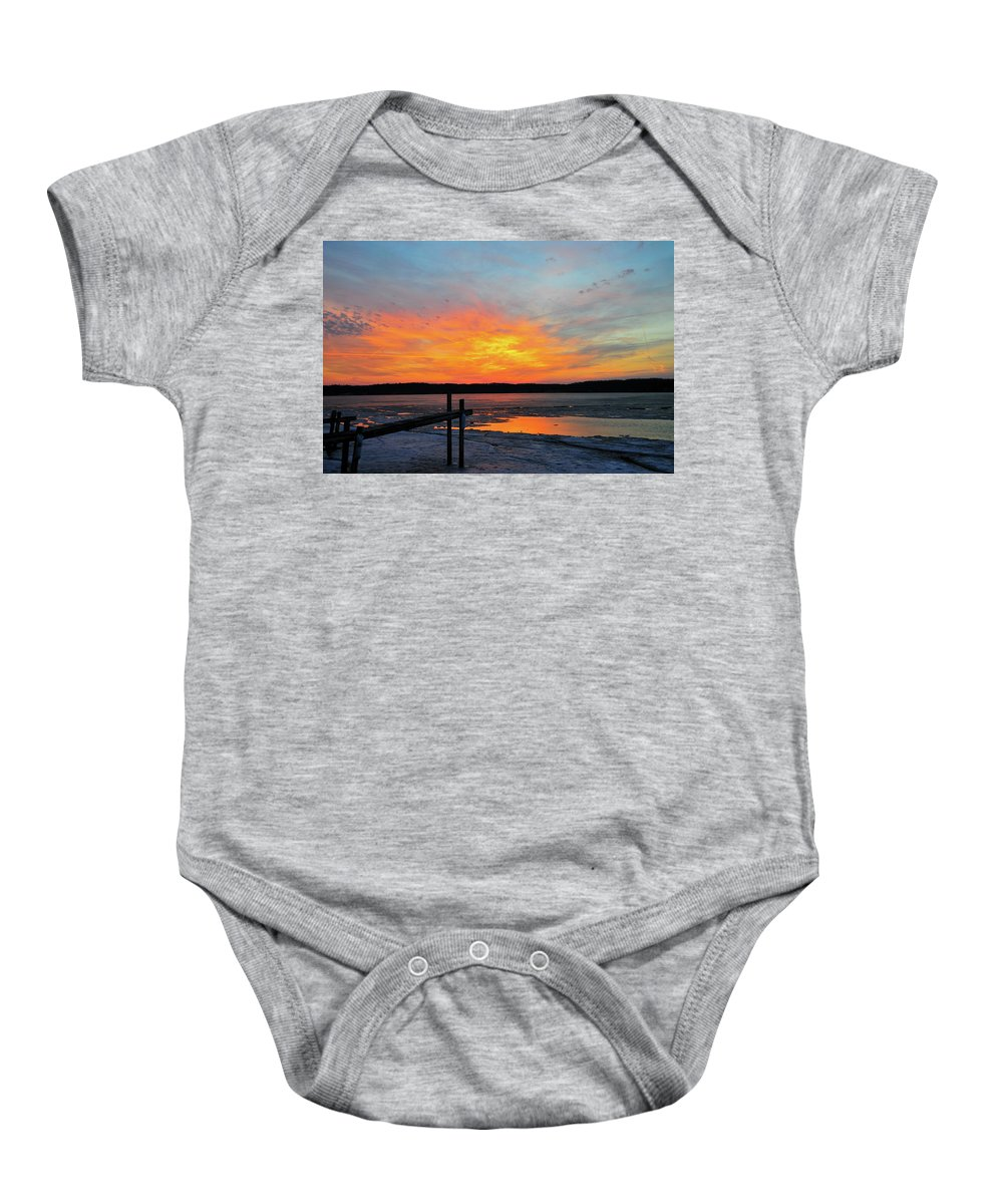Sunset Baby Onesie featuring the photograph Winter Docks by David Arment