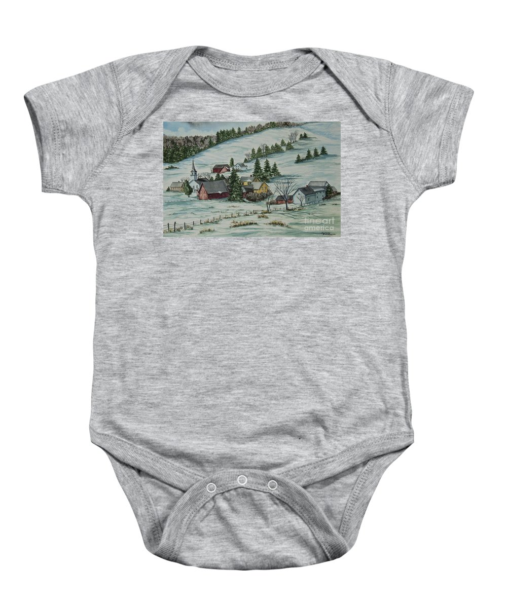 Winter Scene Paintings Baby Onesie featuring the painting Winter In East Chatham Vermont by Charlotte Blanchard