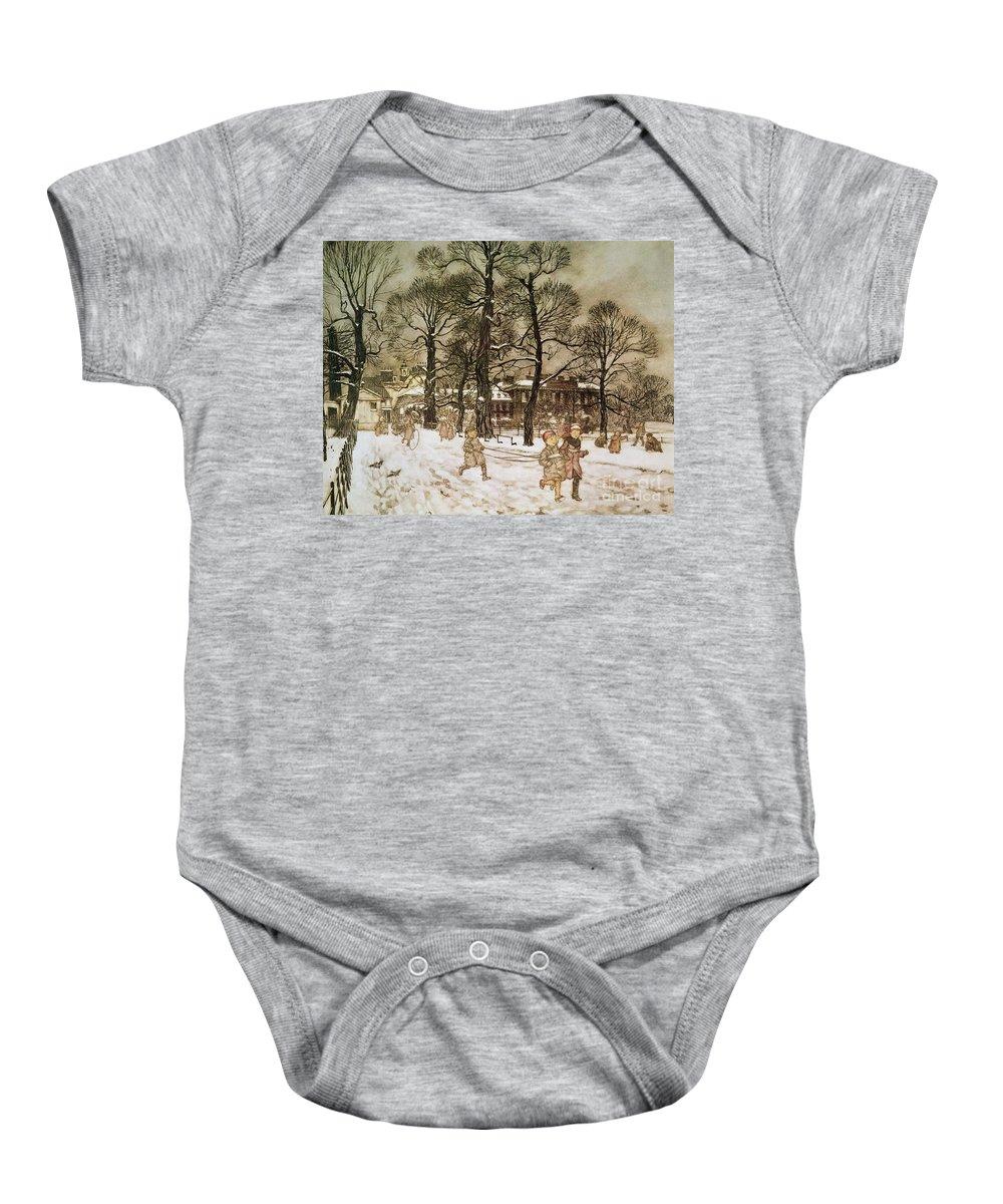 Arthur Rackham Baby Onesie featuring the drawing Winter In Kensington Gardens by Arthur Rackham