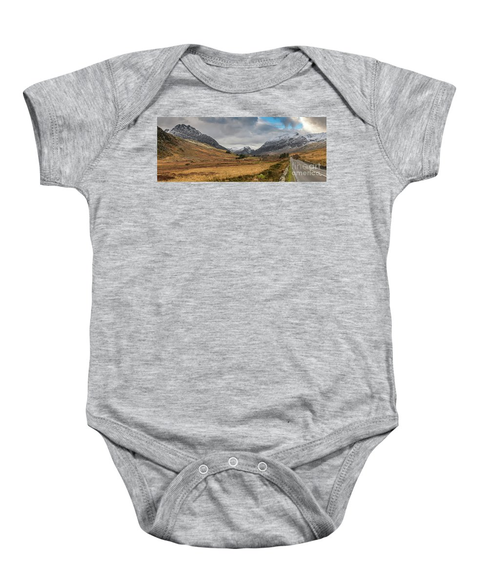 Tryfan Baby Onesie featuring the photograph Winter In Snowdonia by Adrian Evans
