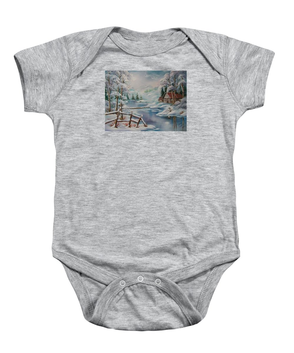 Winter Scapes Baby Onesie featuring the painting Winter In The Valley by Irene Clarke