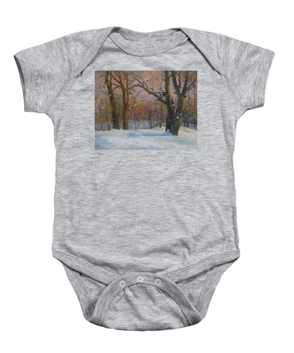 Snow Baby Onesie featuring the painting Winter In The Wood by Victor Onyshchenko
