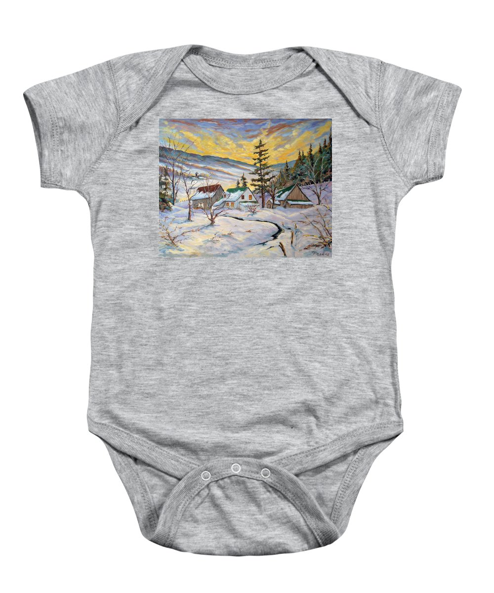 Landscape Baby Onesie featuring the painting Winter Lights by Richard T Pranke