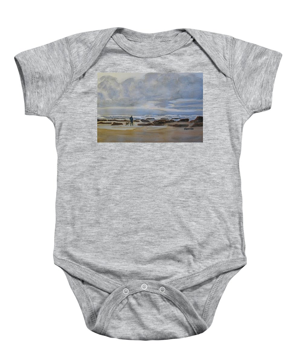 Beach Baby Onesie featuring the painting Winter Morning Solitude II by Jenny Armitage