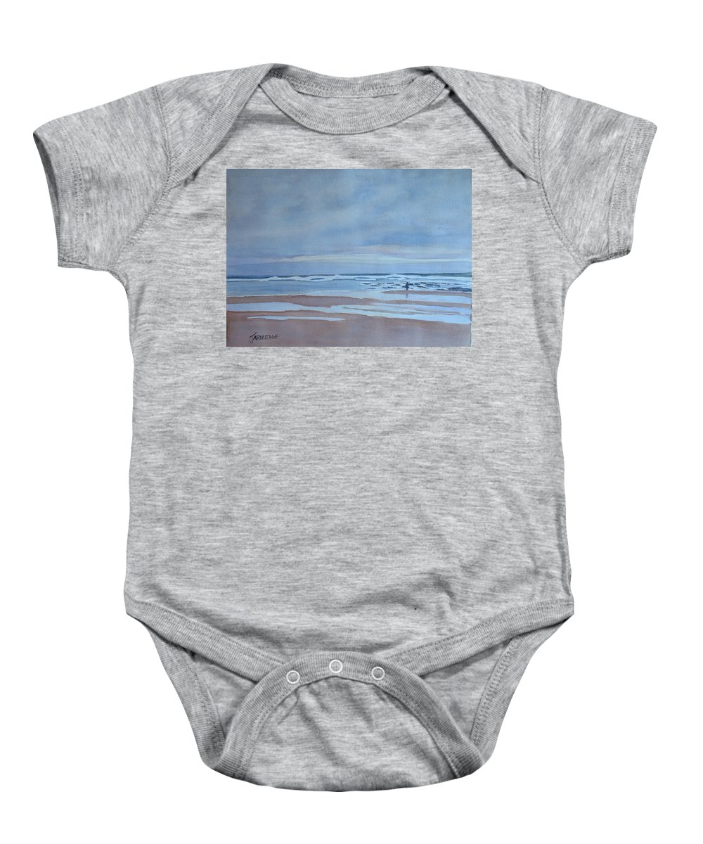Ocean Baby Onesie featuring the painting Winter Morning Solitude by Jenny Armitage