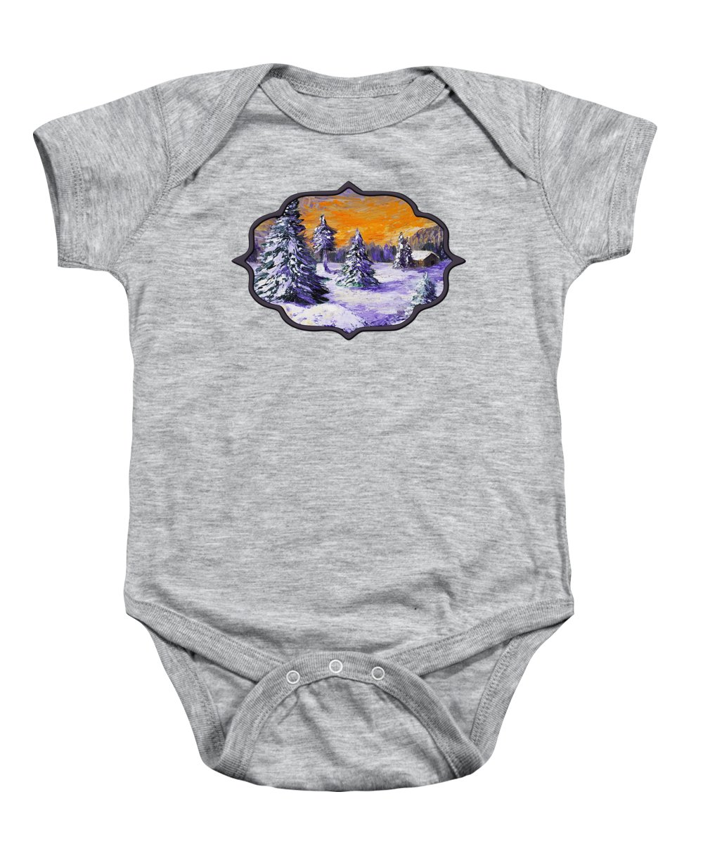 Stowe Baby Onesie featuring the painting Winter Outlook by Anastasiya Malakhova