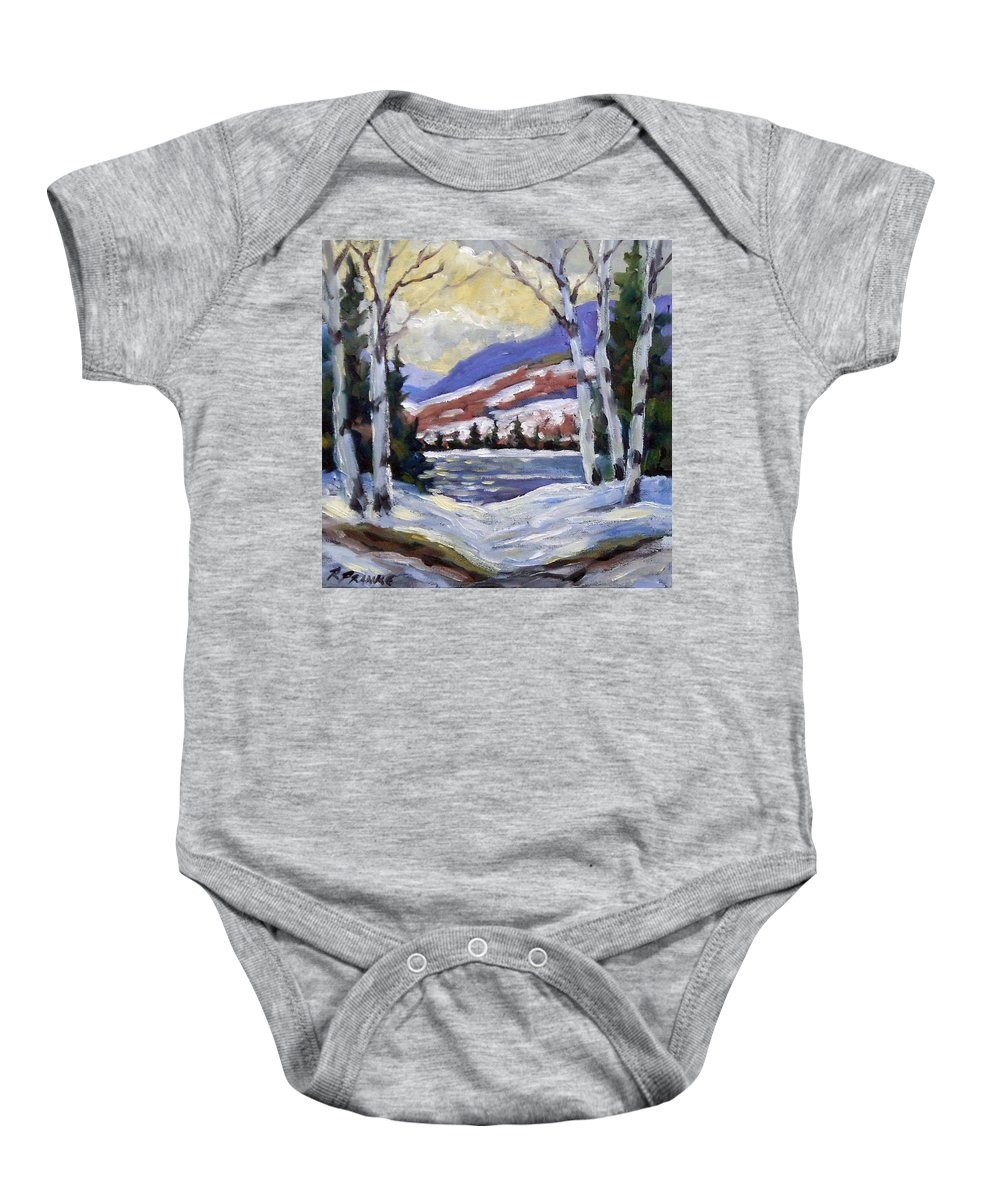 Art Baby Onesie featuring the painting Winter Reflections by Richard T Pranke