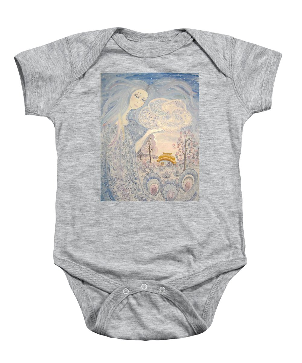 Ukrainian National Petrykivsky Rospus Baby Onesie featuring the painting Winter Snow Sows by Kateryna Wiman