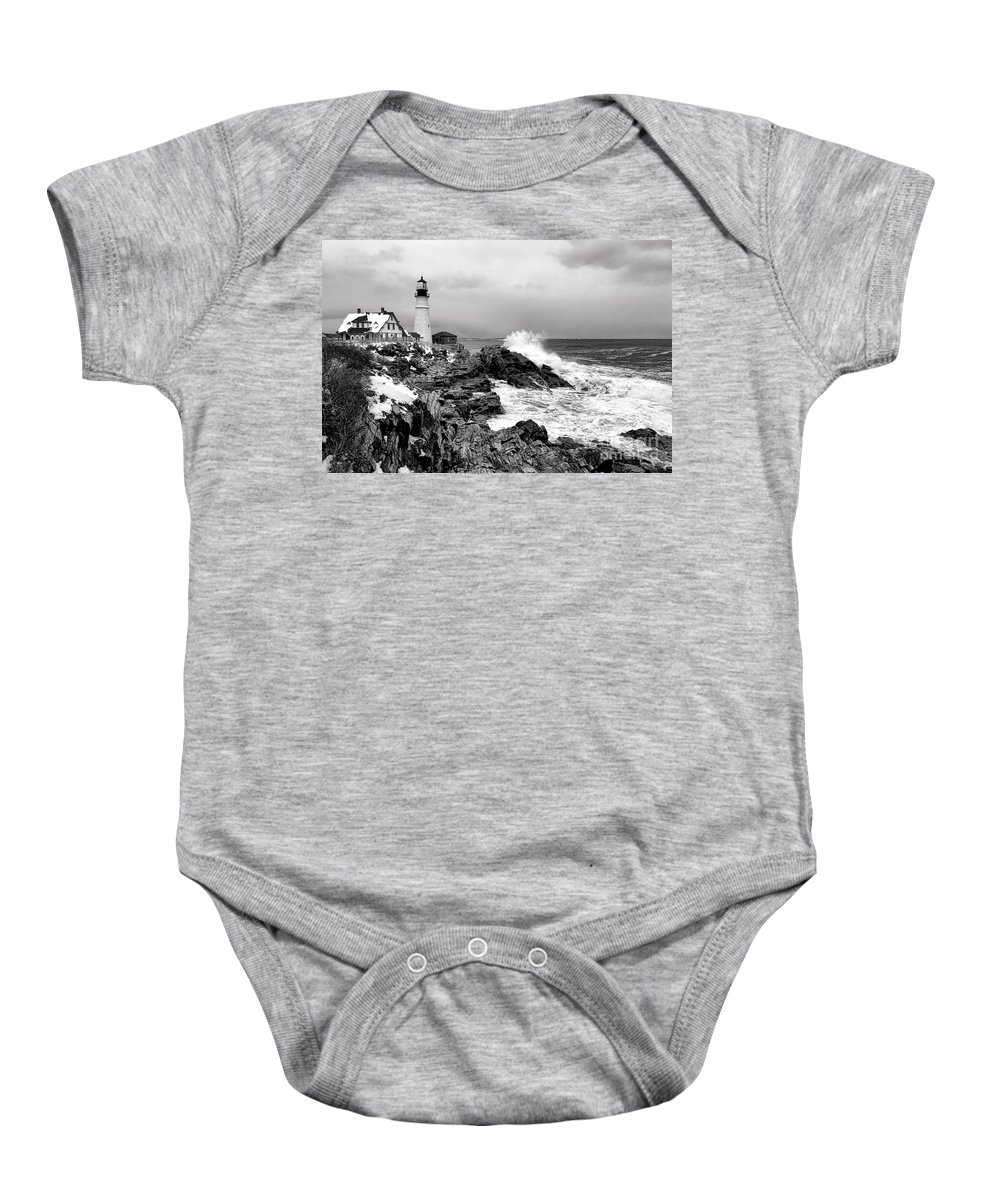 Portland Baby Onesie featuring the photograph Winter Storm At Portland Head by Olivier Le Queinec