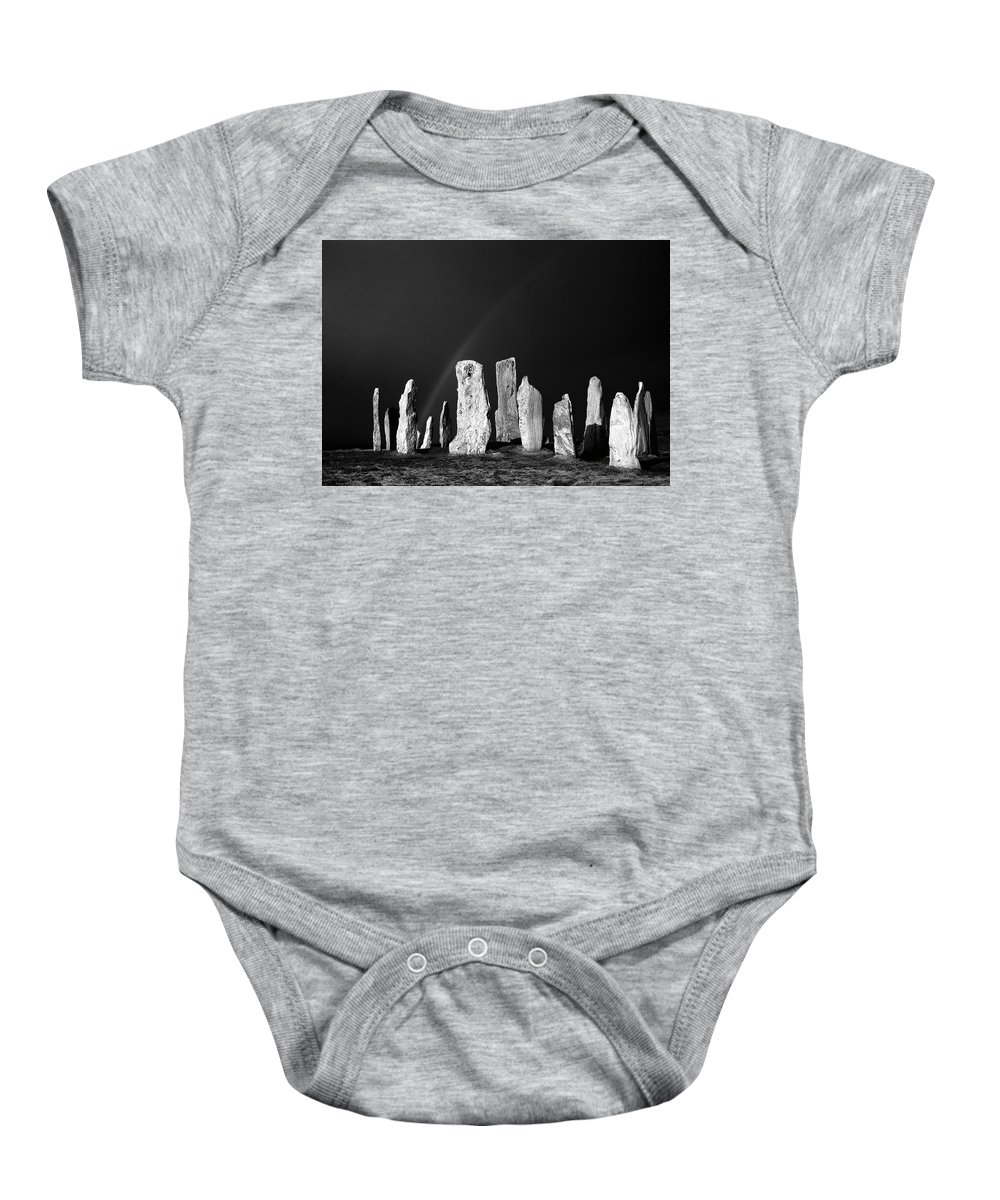 Callanish Baby Onesie featuring the photograph Winter Storm Sky Over Callanish. Outer Hebrides, Scotland.  Black And White by David Lyons