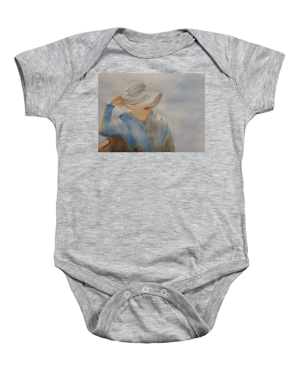 Girls Baby Onesie featuring the painting Winter Sun I by Jenny Armitage