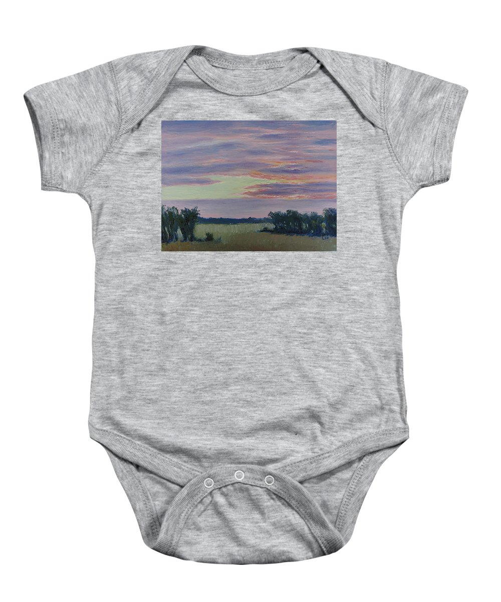 Sunset Baby Onesie featuring the painting Winter Sunset by Lea Novak
