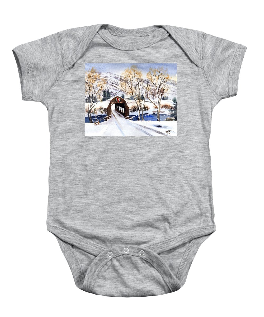 Winter Baby Onesie featuring the painting Winter Tracks by Tammy Crawford