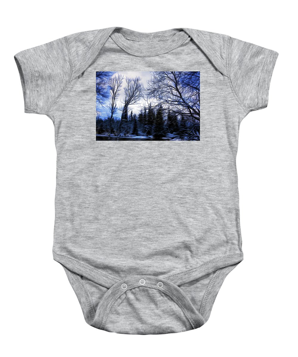 Acrylicpainting Baby Onesie featuring the painting Winter Trees In Sweden by Barry King
