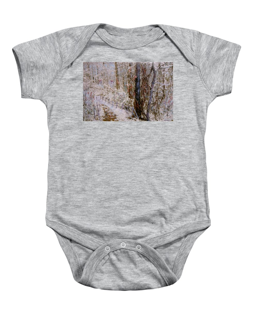 Snow; Trees Baby Onesie featuring the painting Winter Wonderland by Ben Kiger
