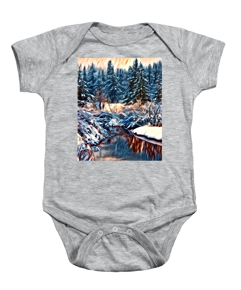 Artistic Baby Onesie featuring the photograph Winter's Bliss by Carol Dyer