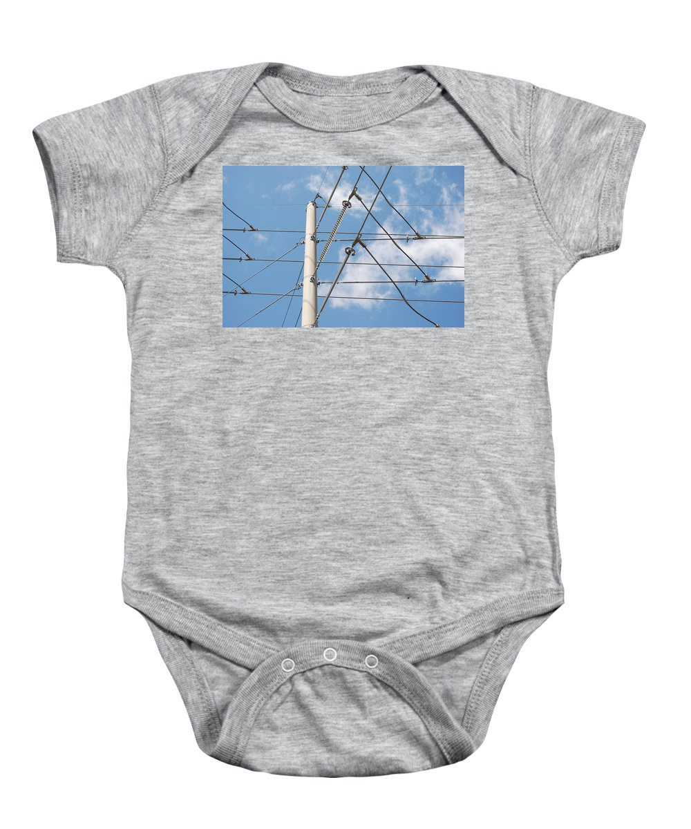 Sky Baby Onesie featuring the photograph Wired Sky by Rob Hans
