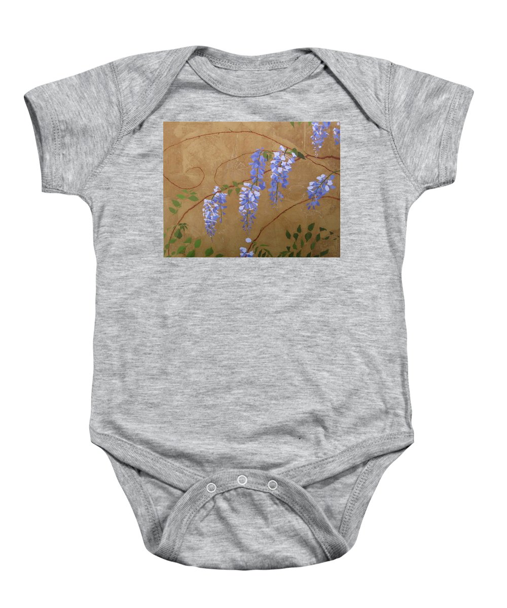Periwinkle Wisteria Flowers Baby Onesie featuring the painting Wisteria by Leah Tomaino