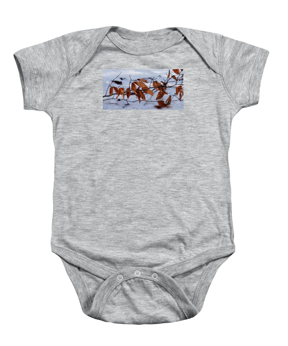 Autumn Baby Onesie featuring the photograph With Autumn's Passing by Linda Shafer