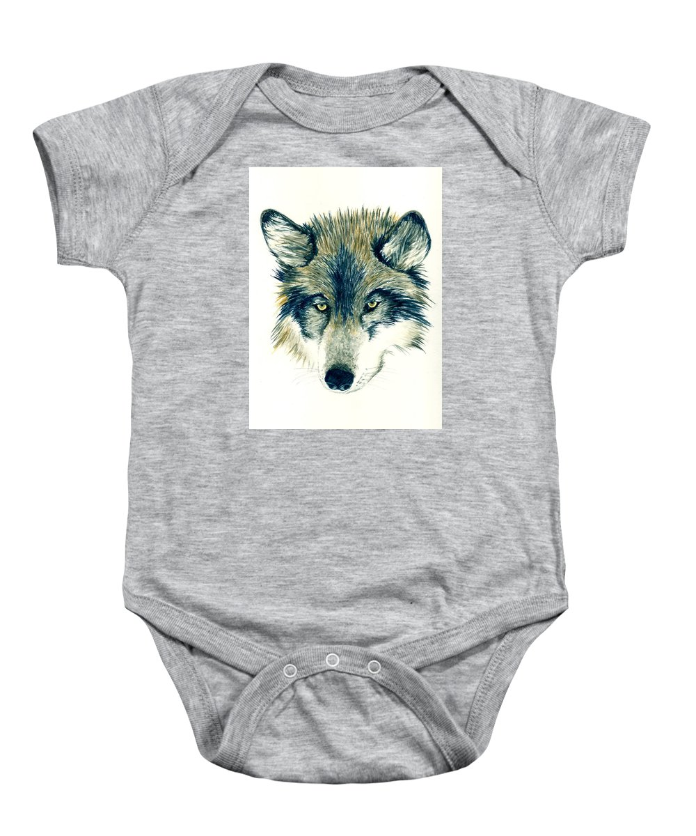 Animals Baby Onesie featuring the painting Wolf by Michael Vigliotti