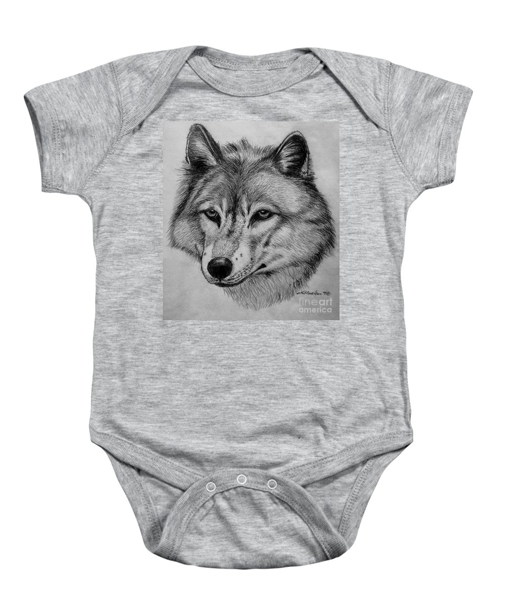 Wolf Baby Onesie featuring the drawing Wolf Sketch by Nick Gustafson