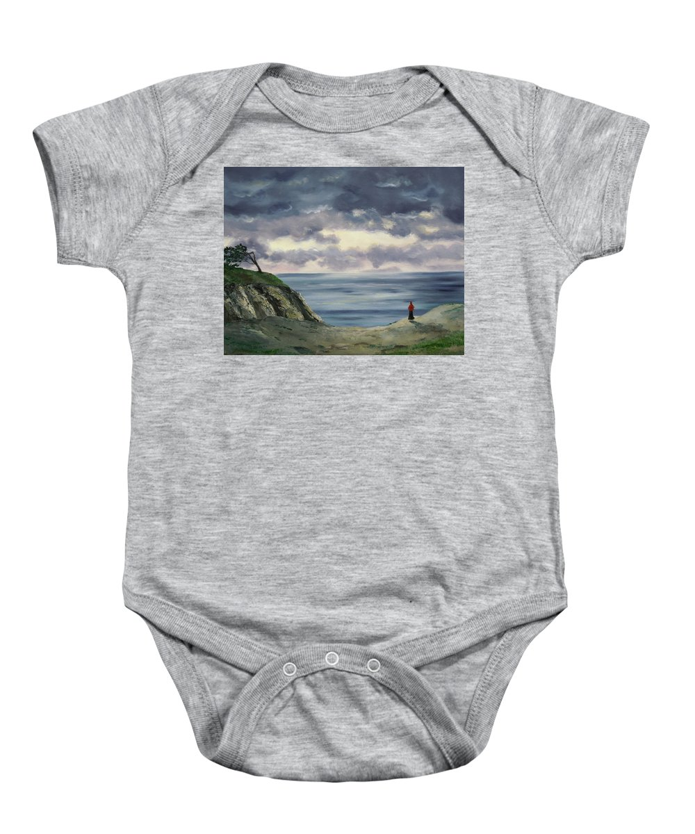 California Baby Onesie featuring the painting Woman In A Red Shawl by Laura Iverson