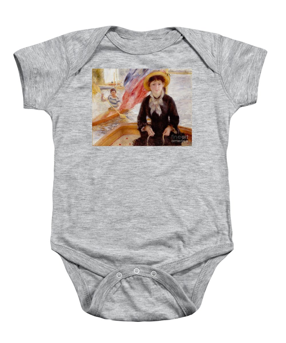 Woman Baby Onesie featuring the painting Woman In Boat With Canoeist by Renoir