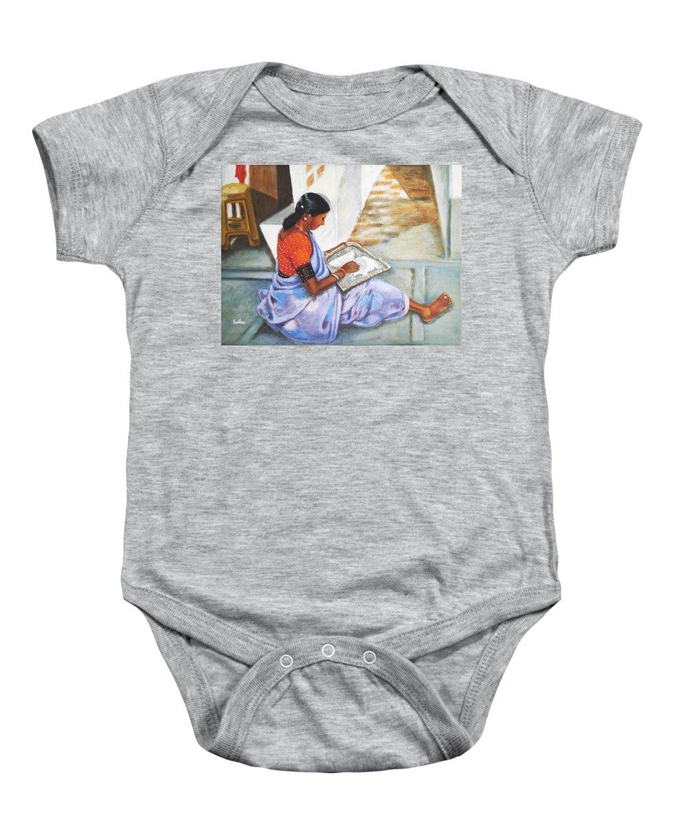 Usha Baby Onesie featuring the painting Woman Picking Rice by Usha Shantharam