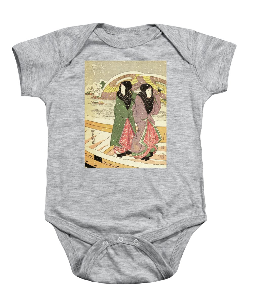 Hiroshige Baby Onesie featuring the painting Women Walking Over A Bridge In Snow by Hiroshige