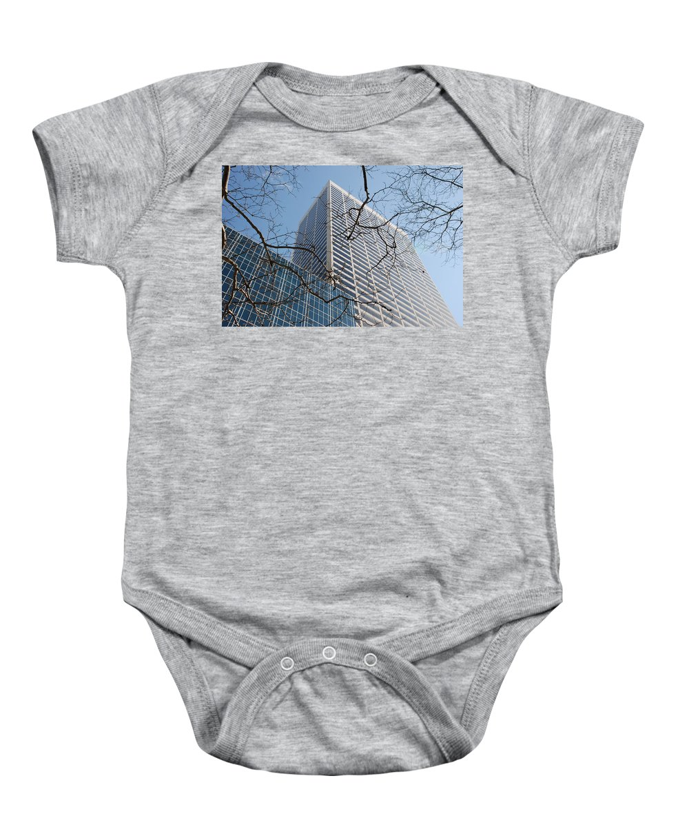 Architecture Baby Onesie featuring the photograph Wood And Glass by Rob Hans