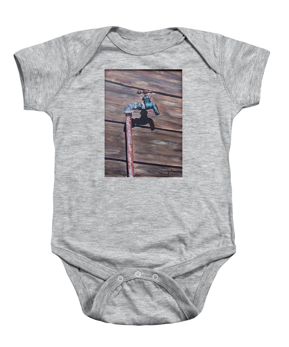 Still Life Metal Old Wood Baby Onesie featuring the painting Wood And Metal by Natalia Tejera