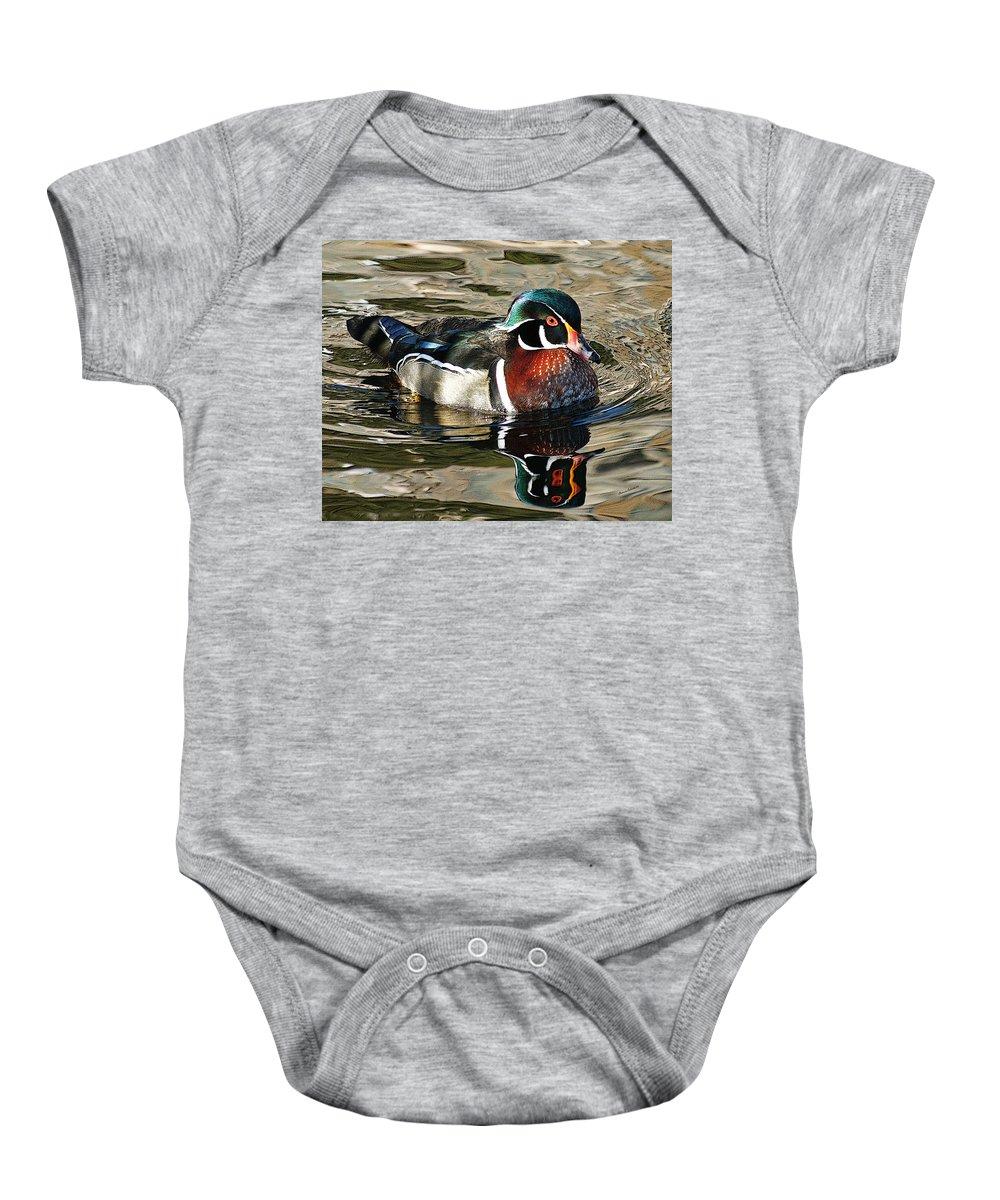 Animals Baby Onesie featuring the photograph Wood Duck 1 by Ernie Echols