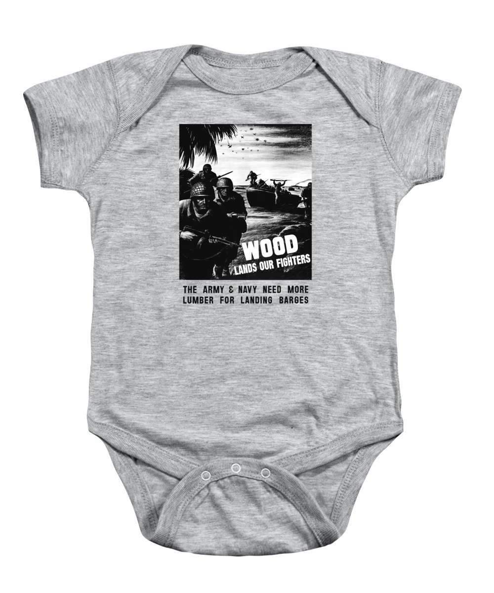 Wwii Baby Onesie featuring the painting Wood Lands Our Fighters by War Is Hell Store