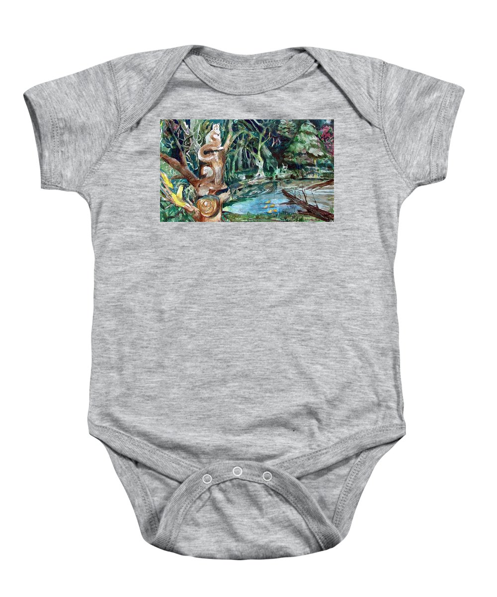 Squirrels Baby Onesie featuring the painting Woodland Critters by Mindy Newman