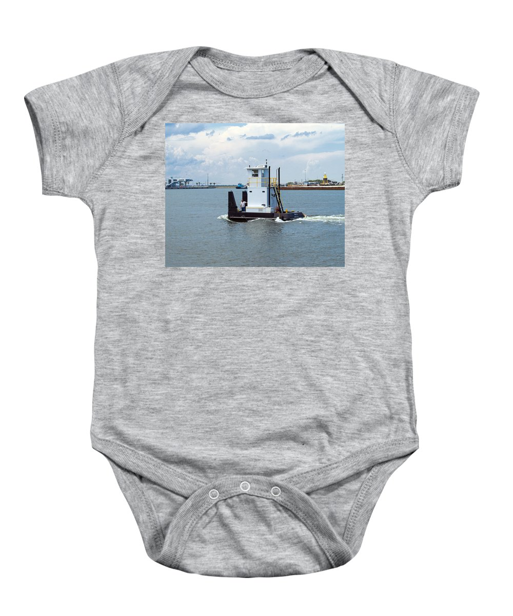 Florida; Tug; Tugboat; Boat; Work; Workboat; Pusher; Push; Barge; Barges; Working; Float; Floating; Baby Onesie featuring the photograph Workboat At Port Canaveral In Florida by Allan Hughes