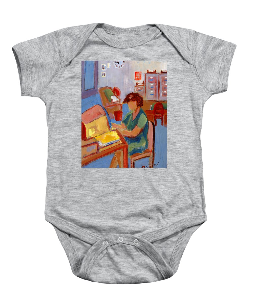 Betty Pieper Baby Onesie featuring the painting Working At The Former New York State Head Injury Association by Betty Pieper