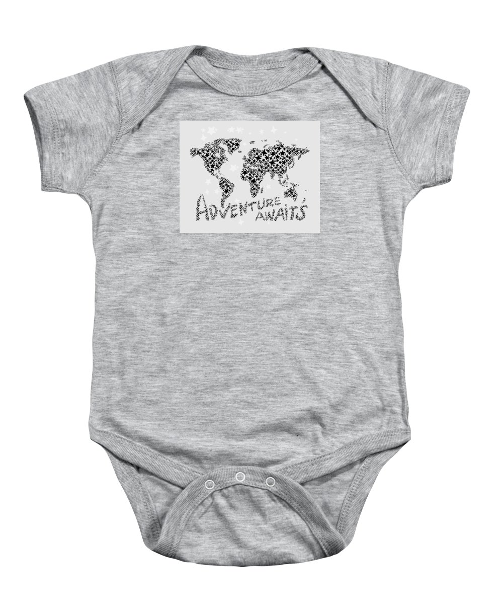World Map Baby Onesie featuring the digital art World Map For Kids Black Star by Hieu Tran