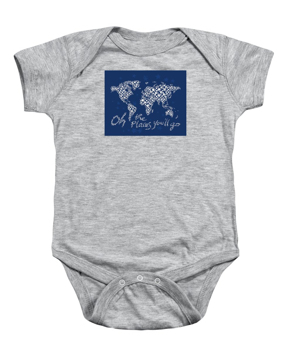 World Map Baby Onesie featuring the digital art World Map White Star Navy Blue by Hieu Tran
