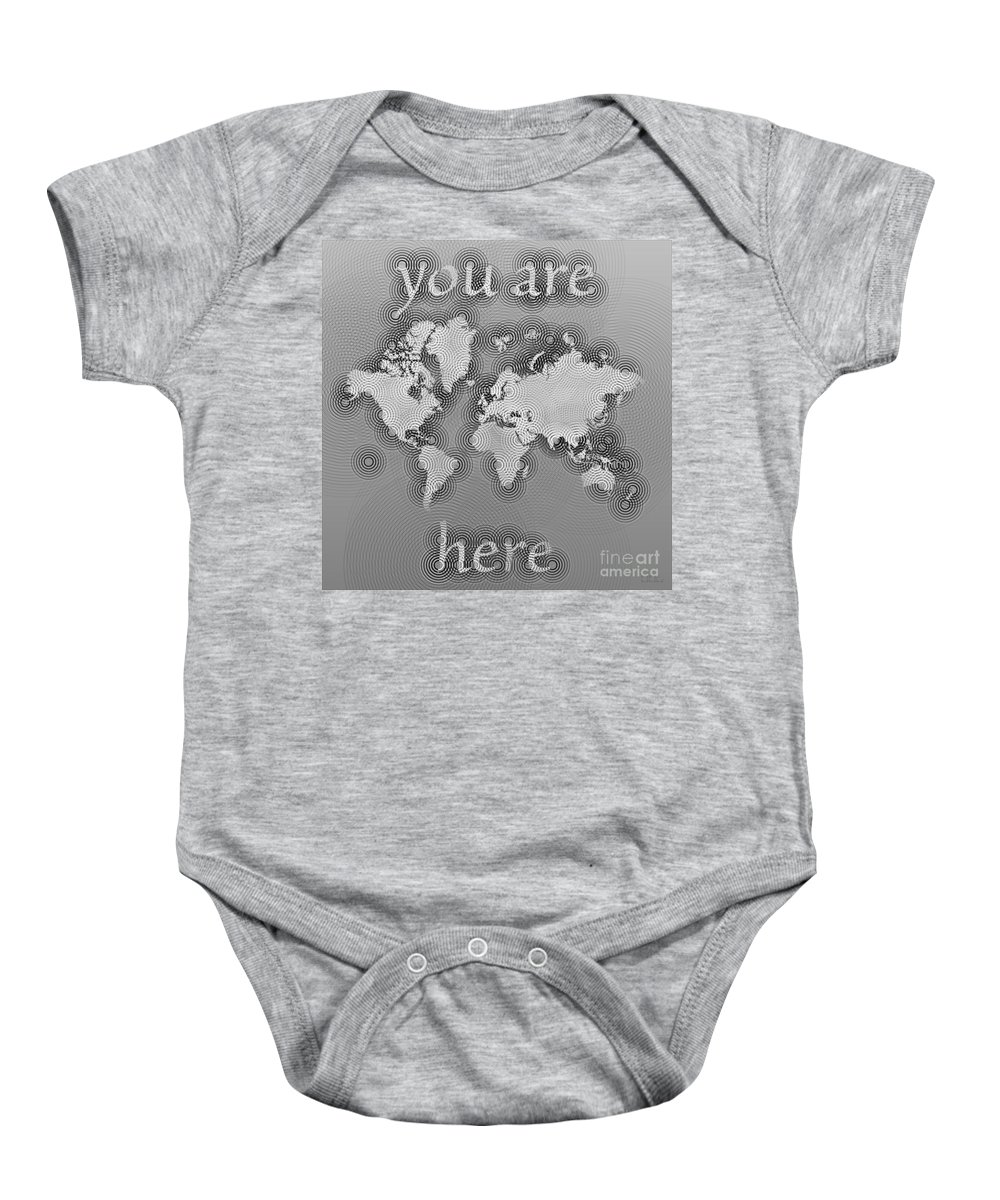 World Map Zona You Are Here Map Of The World Elevencorners Eleven Corners 11corners 11 Corners Beautiful Interesting Unusual Cartography Cartographic Digital Art Black And White Baby Onesie featuring the digital art World Map Zona You Are Here In Black And White by Eleven Corners