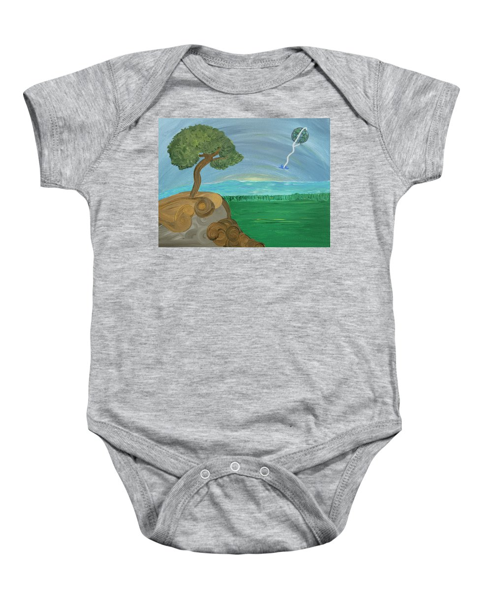 Landscape Baby Onesie featuring the painting World On A String by Sara Credito