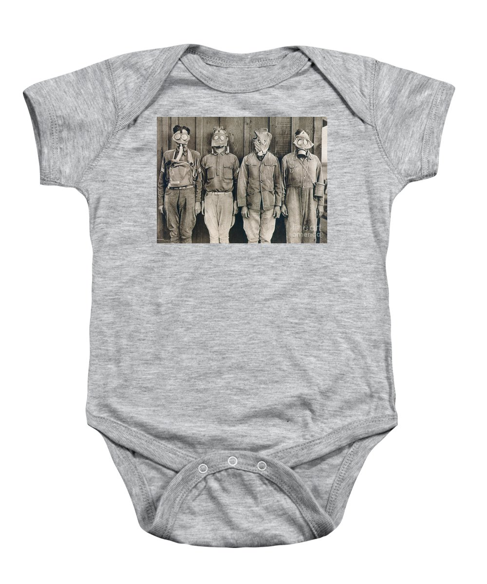 American Baby Onesie featuring the photograph World War I: Gas Warfare by Granger