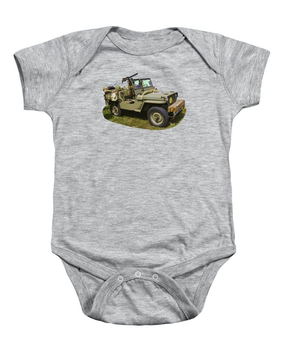 World War Two Baby Onesie featuring the photograph World War Two - Willys - Army Jeep by Keith Webber Jr