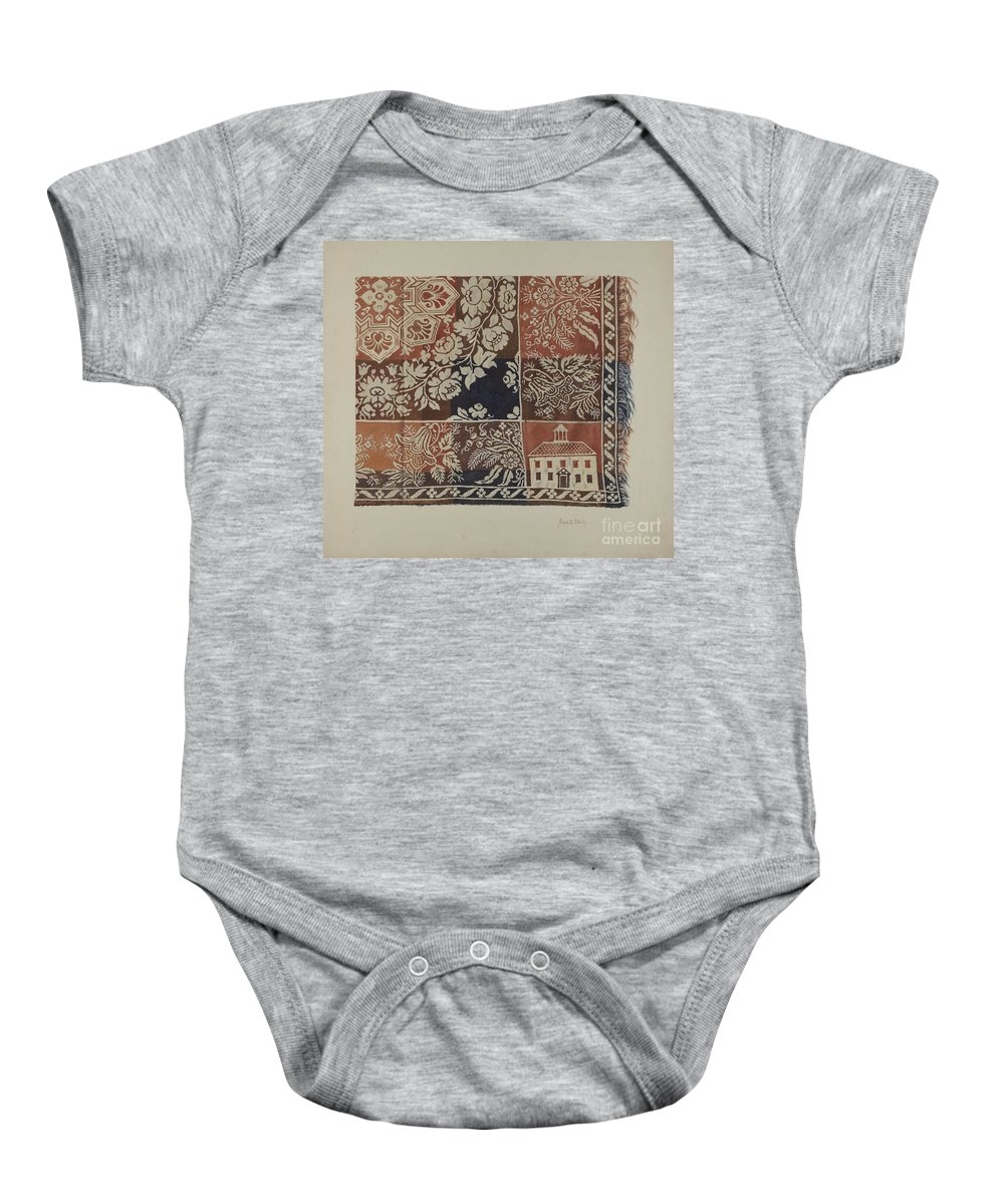 Baby Onesie featuring the drawing Woven Coverlet by Alois E. Ulrich
