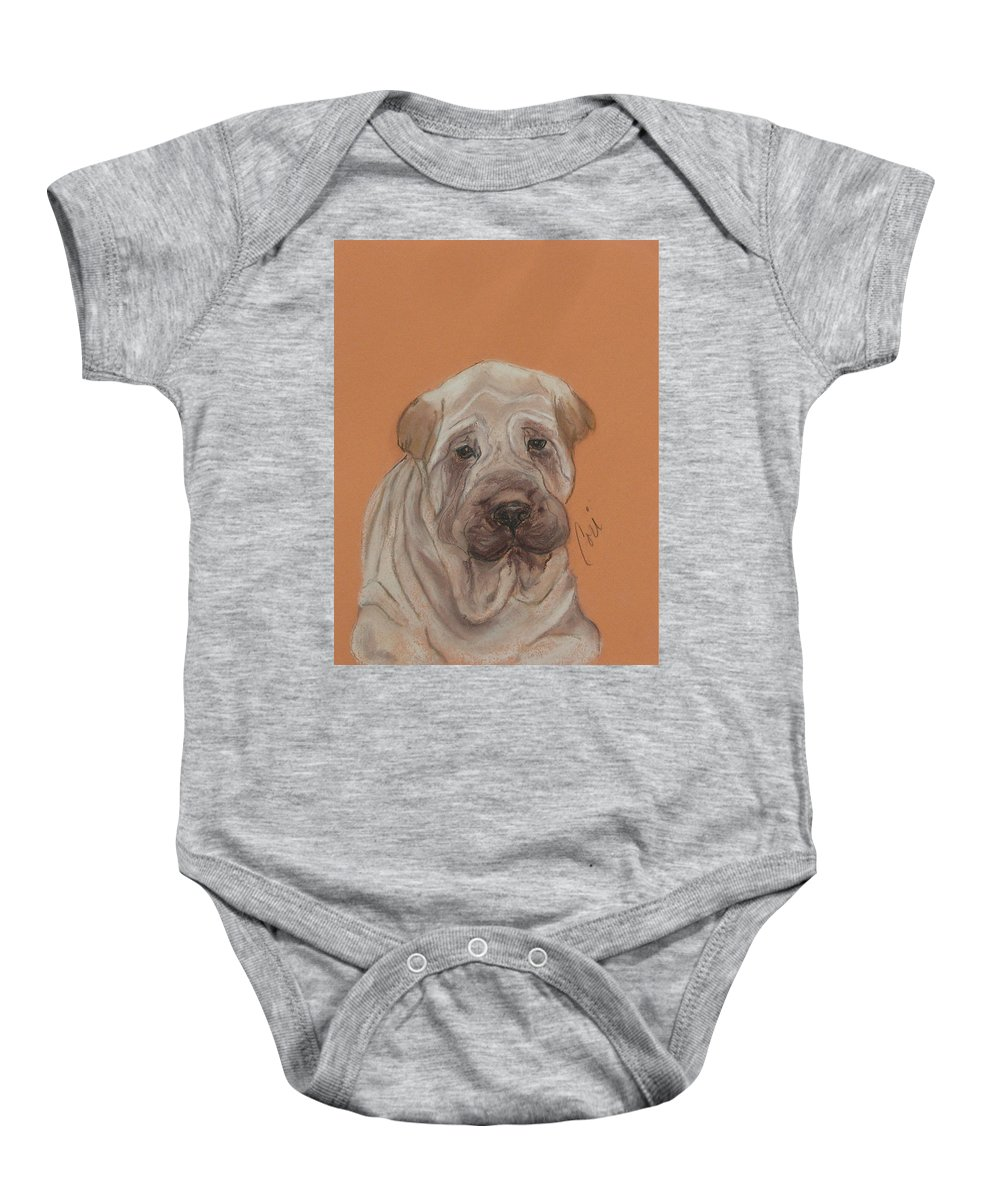 Shar Pei Baby Onesie featuring the drawing Wrinkles by Cori Solomon