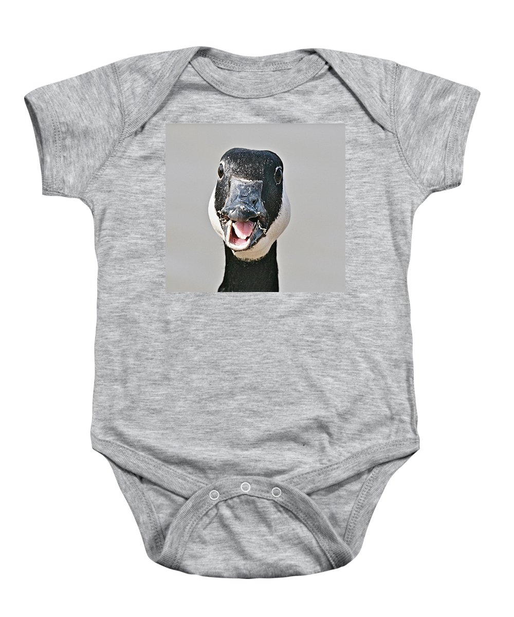 Goose Baby Onesie featuring the photograph Wwhhaaat by Robert Pearson